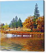 Autumn Lake In The Woods Canvas Print