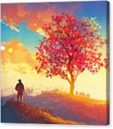 Autumn Landscape With Alone Tree On Canvas Print