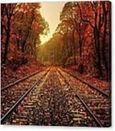 Autumn On The Tracks Canvas Print