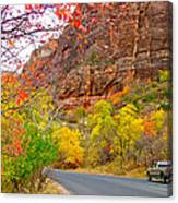 Autumn On Zion Canyon Scenic Drive In Zion National Park-utah  Canvas Print