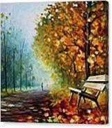 Autumn Park - Palette Knife Oil Painting On Canvas By Leonid Afremov Canvas Print