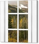 Autumn Rocky Mountain Glacier View Through A White Window Frame  Canvas Print