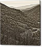 Autumn Valley Sepia Canvas Print
