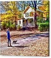 Autumn - Walking The Dog Canvas Print