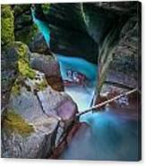 Avalanche Gorge Glacier National Park Painted   Canvas Print
