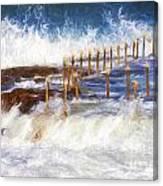 Avalon Rockpool With Crashing Waves Canvas Print