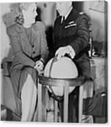 Aviator Jacqueline Cochran With Capt Canvas Print