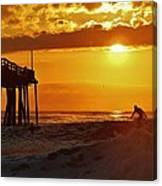 Avon Pier Sunrise Surfer 2 9/08 Canvas Print
