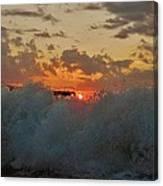 Avon Pier Splash Sunrise 7/26 Canvas Print