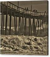 Avon Pier Stormy Sepia 3 10/13 Canvas Print