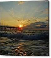 Avon Pier Sunrise Morning Sunbeams 7/26 Canvas Print