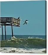 Avon Pier Surfers Leap 2 1/19 Canvas Print