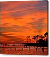 Awesome Fiery Sunset On Sound With Cirrus Clouds And Pines Canvas Print