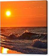 Awesome Red Sunrise Colors On Navarre Beach With Shore Waves Canvas Print