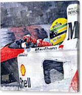 Ayrton Senna Mclaren 1991 Hungarian Gp Canvas Print