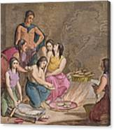 Aztec Women Making Maize Bread, Mexico Canvas Print