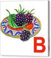 B Art Alphabet For Kids Room Canvas Print