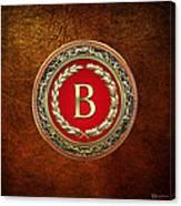 B - Gold Vintage Monogram On Brown Leather Canvas Print