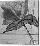 B W Wood Flower Canvas Print