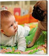 Baby And Dog Canvas Print