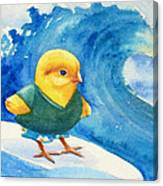 Baby Chick Surfing Canvas Print