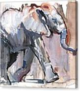 Baby Elephant, 2012 Mixed Media On Paper Canvas Print