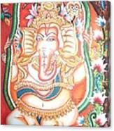 Baby Ganesha Swinging On A Snake Canvas Print