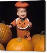 Baby In Pumpkin Costume Canvas Print