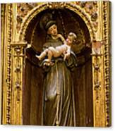 Baby Jesus And A Monk Sculpture Canvas Print
