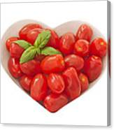 Baby Plum Tomates In A Heart Shaped Bowl Canvas Print