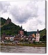 Bacharach Am Rhein And Burg Stahleck Canvas Print