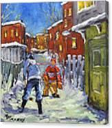 Back Lane Hockey Shoot Out By Prankearts Canvas Print
