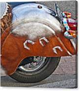 Back Of Indian Customized Motorcycle Canvas Print