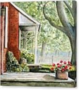 Back Porch Geraniums Canvas Print