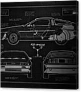 Back To The Future Delorean Blueprint 1 Canvas Print