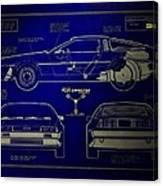 Back To The Future Delorean Blueprint 2 Canvas Print