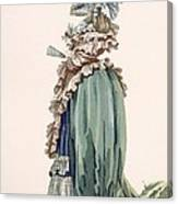 Back View Of Ladys Dress, Engraved Canvas Print