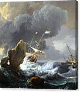 Backhuysen's Ships In Distress Off A Rocky Coast Canvas Print