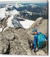 Backpacker Descending Needle Peak Canvas Print