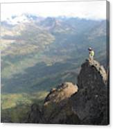 Backpackers Hike In Chugach State Park Canvas Print