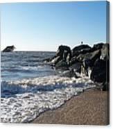 Backwash On Sunset Beach Cape May Canvas Print