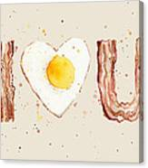 Bacon And Egg I Heart You Watercolor Canvas Print