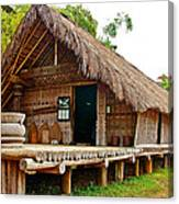 Bahnar Home With Extension As Family Grows At Museum Of Ethnology In Hanoi-vietnam  Canvas Print