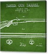 Baker Gun Barrel Patent Drawing From 1877- Green Canvas Print