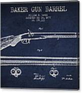 Baker Gun Barrel Patent Drawing From 1877- Navy Blue Canvas Print