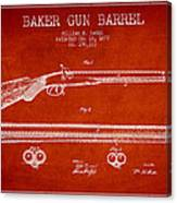 Baker Gun Barrel Patent Drawing From 1877- Red Canvas Print