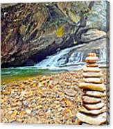 Balanced River Rocks At Birdrock Waterfalls Filtered Canvas Print