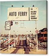 Balboa Island Ferry Newport Beach Vintage Picture Canvas Print
