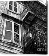 Balcony And Windows Mono Canvas Print