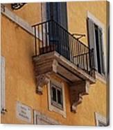 Balcony Piazza Della Madallena In Roma Canvas Print